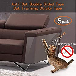 Binary Barn Cat Anti-Scratch Deterrent Tape, Furniture Protectors from Cats,Clear Double Sided Training Tape, Sticky Paws Stop Pets from Scratching Couch and Door (Pins Free) (5Pcs)