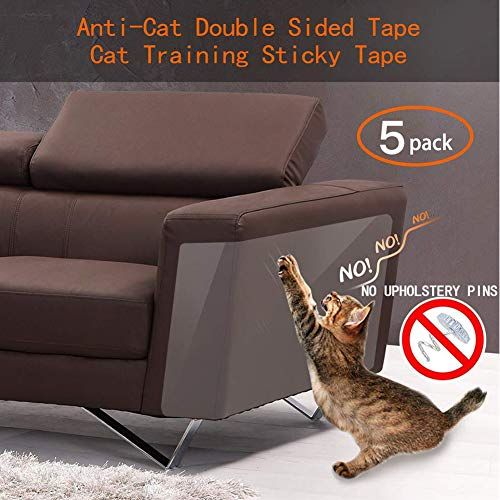 Binary Barn Cat Anti-Scratch Deterrent Tape, Furniture Protectors from Cats,Clear Double Sided Training Tape, Sticky Paws Stop Pets from Scratching Couch and Door (Pins Free)(5 PCS) (Cats Barn Cat)