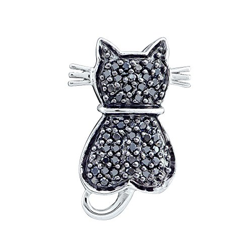 14kt White Gold Womens Round Black Colored Diamond Kitty Cat Feline Pendant (14kt Gold Cat Ring)