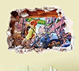 Fange DIY Removable 3D New Zootopia Smart lovely rabbit Judy Hopps And Fox Nick Hole View Art Mural Vinyl Waterproof Wall Stickers Kindergarten Decor Kids Bedroom Decal Sticker 27.5''x19.6''