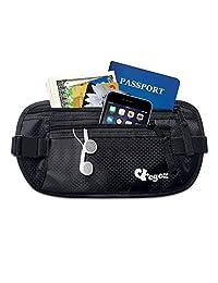 Cashew By Egoz Travel Gear Money Belt Undercover Waist Bag Pouch Bag Secures Cash Cards Passport Tickets Mobile - 100% Polyester, 2 Zip Pockets, Adjustable Strap, Side Clip, Washable - Light Slim Comfortable - Delux