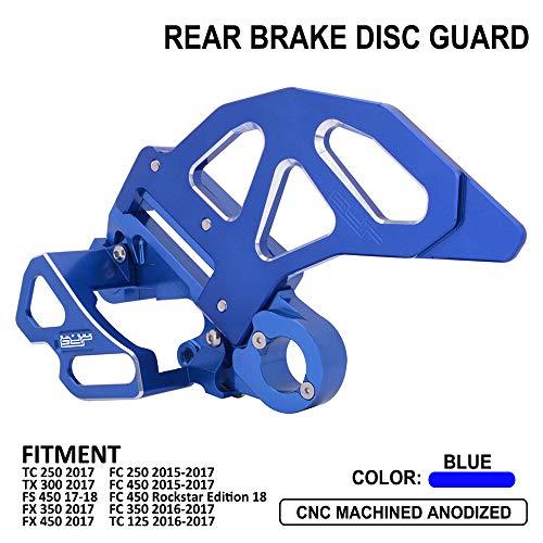 (CNC Rear Brake Disc Guard Cover Rear Brake Caliper Guard Kit - Fit For Husqvarna FC FC250 FC450 15-17,FC450 Rockstar Edition 18,FC350 TC TX FS FX TC125 16-17,TC250 TX300 FS450 FX350 FX450 2017)