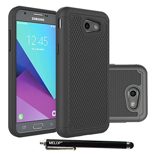 Galaxy J3 Emerge Case, MELOP Hybrid Dual Layer Tough Ultra Defender Protective Shell Case Cover for Samsung Galaxy J3 Emerge 2017 / Express/Amp Prime 2 /Sol 2/ Eclipse/Luna Pro / J327P - Black