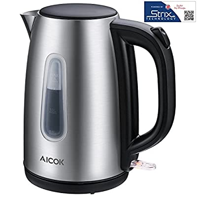 Electric Kettle Aicok Premium 304 Stainless Steel Water Kettle with Precision Strix Thermostat, 1500W Fast Tea Kettle, Auto Shut Off 1.7Liter