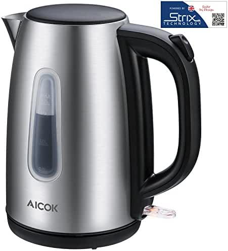 Aicok Electric Kettle Premium 304 Stainless Steel Water Kettle Professional Strix Thermostat Control Cordless Boiler Kettle, 1.7 Liter, 1500Watts, Auto Shut Off With Boil Dry Protection, Silver