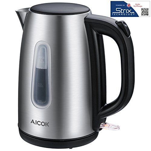 Aicok Electric Kettle Premium 304 Stainless Steel Tea Kettle Professional Strix Thermostat Control Cordless Boiler Kettle, 1.7 Liter, 1500Watts, Auto Shut Off With Boil Dry Protection, Silver