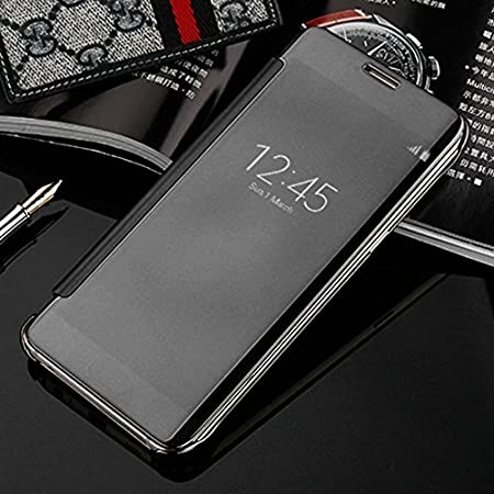 Trifty Semi Transparent Clear View Mirror Sensor Smart Flip Cover Samsung Galaxy S7 Edge  Black