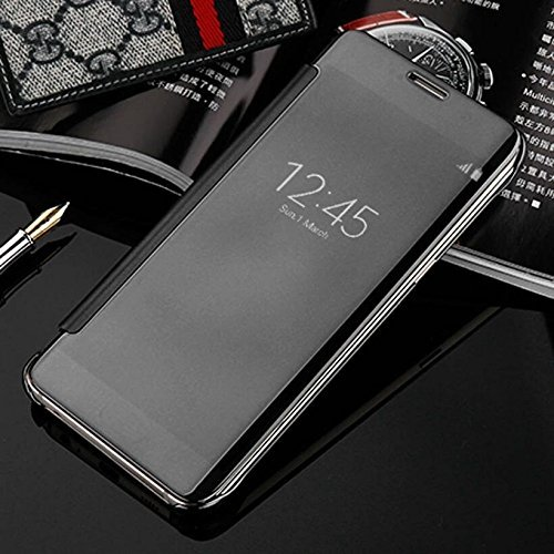 Trifty Semi Transparent Clear View Mirror Sensor Smart Flip Cover Samsung Galaxy S7 Edge  Black