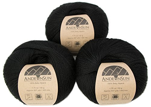 100% Baby Alpaca Yarn (Weight #1) LACE - Set of 3 Skeins 150 Grams Total- Luxurious and Caring Soft for Knitting, Crocheting and Any lace Weight Project - Black