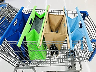 Trolley Shopping Bags - Pack Of 4 with Insulated Cooler Bag, Eco Friendly Reusable Grocery Bags Perfect For Shopping Carts - Ebook
