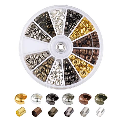 Pandahall 1Box/390pcs Crimping Makings with 3mm Brass Tube Line Crimp Beads Clamp Tips & 5mm Brass Open Half Round Crimp Beads Covers Antique Bronze & Red Copper & Black & ()