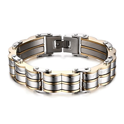 [Red Dandelion Fashion Domineering Tyrant Wave-shape Stainless Steel Gold Plating Men Bracelet] (Work Out Video Star Costume)