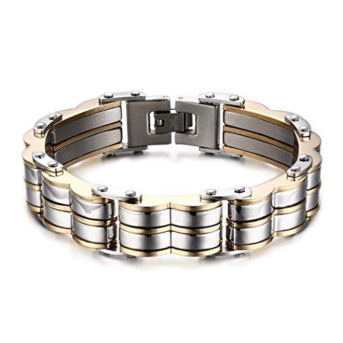 Red Dandelion Fashion Domineering Tyrant Wave-shape Stainless Steel Gold Plating Men Bracelet
