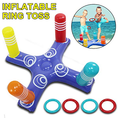 (LcLand Inflatable Ring Toss Head Game Target Toss and 8 Pieces Inflatable Rings for Pool Bath Beach Supplies)