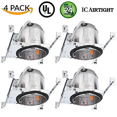 Sunco Lighting 4 Pack 6' New Construction LED Can Air Tight IC Housing LED Recessed Lighting, TP24