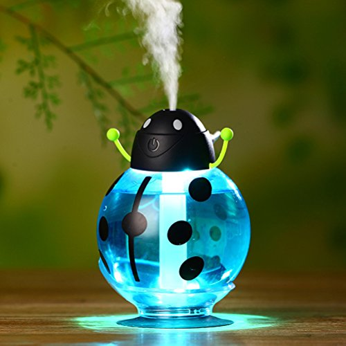 Frcolor Portable 360 Degree Rotation Beetle Ultrasonic Humidifier 260ML Mini USB Air Freshener Purifier Mist Maker for Home School Travel Car (Blue) by Frcolor