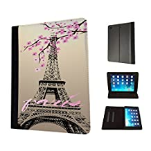 300 - Shabby Chic Floral Paris Eiffel Tower Design Fashion Trend TPU Leather Flip Case For Apple iPad 2 ipad 3 ipad 4 Full Case Flip TPU Leather Purse Pouch Defender Stand Cover