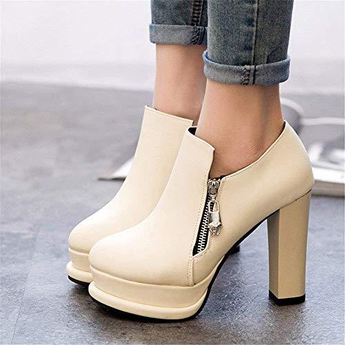 Donna Da Zipper Sed Nude Scarpe Eu 36 's Martin Side High Boots Heel Pu' Eqnn4SH