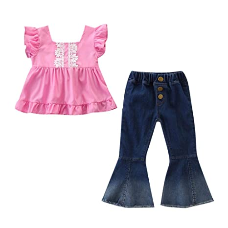 Toddler Kids Baby Girl Off Shoulder Tops T-Shirt Denim Flared Pants Clothes Set ❤Ywoow❤ Baby Clothes Set