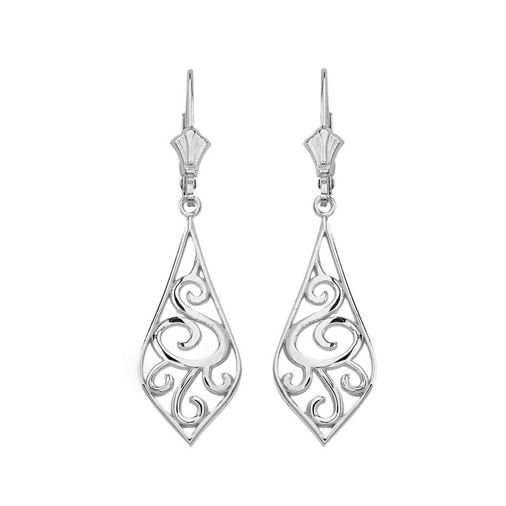 Solid 14k White Gold Filigree Rattan & Leaf Design Dangle Earrings (1.42'')