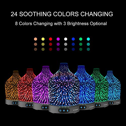 Essential Diffuser, 3D Galaxy Diffuser, 200ML Cool Mist 24 Color Case Waterless Shut-off Home,Office,Baby