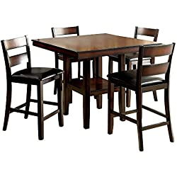 HOMES: Inside + Out IDF-3351PT-5PK Jerrison Transitional 5-Piece Dining Set