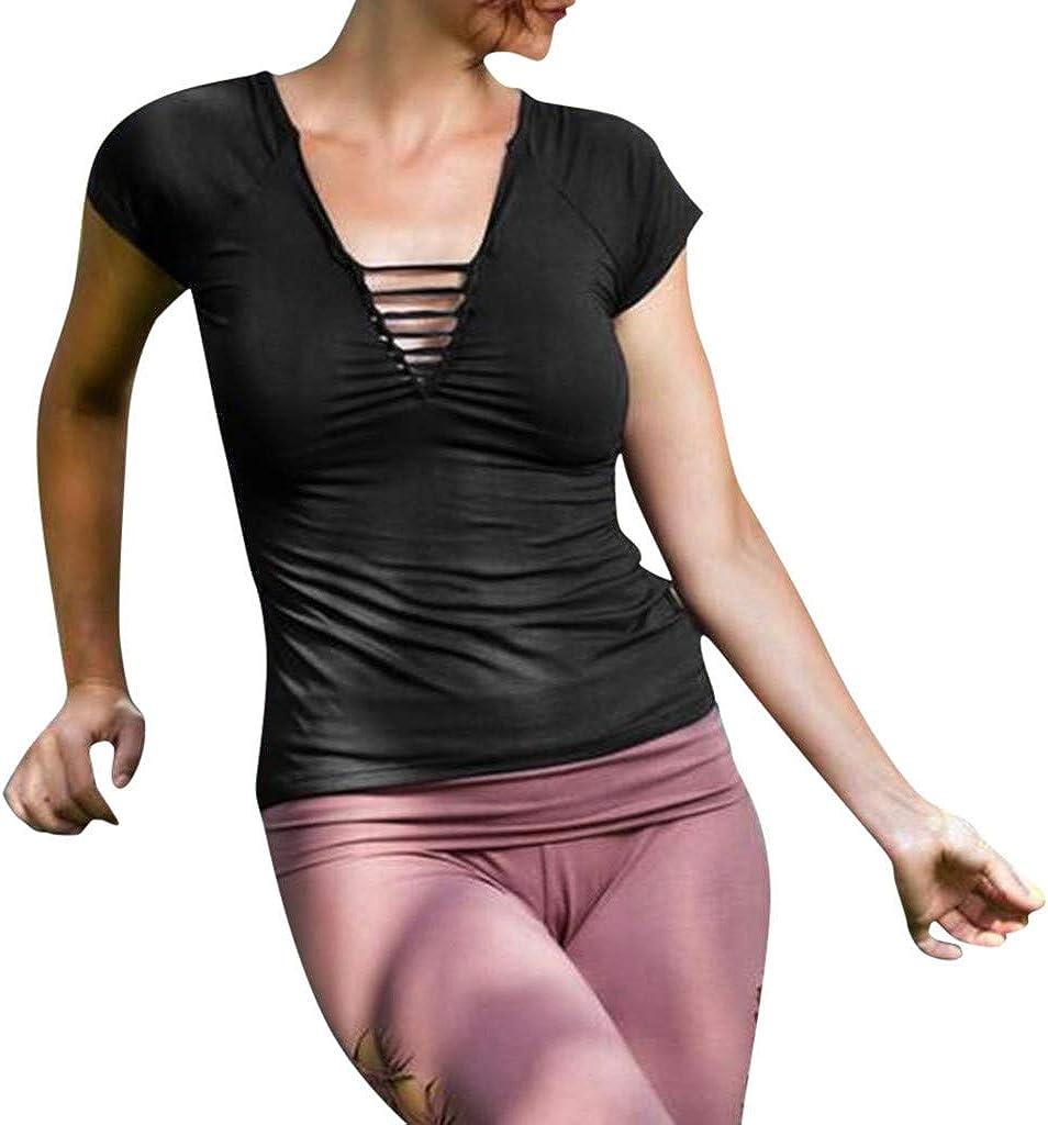 Darringls Camisetas para Mujer, Camisas de Nudo de Manga Corta para Mujer Frente túnica Cruzada Blusa Suelta Tops: Amazon.es: Ropa y accesorios