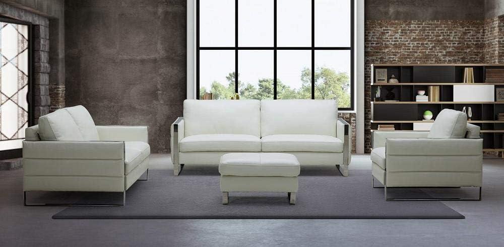 Amazon.com: White Italian Leather Sofa Set w/Ottoman 4 Pcs ...