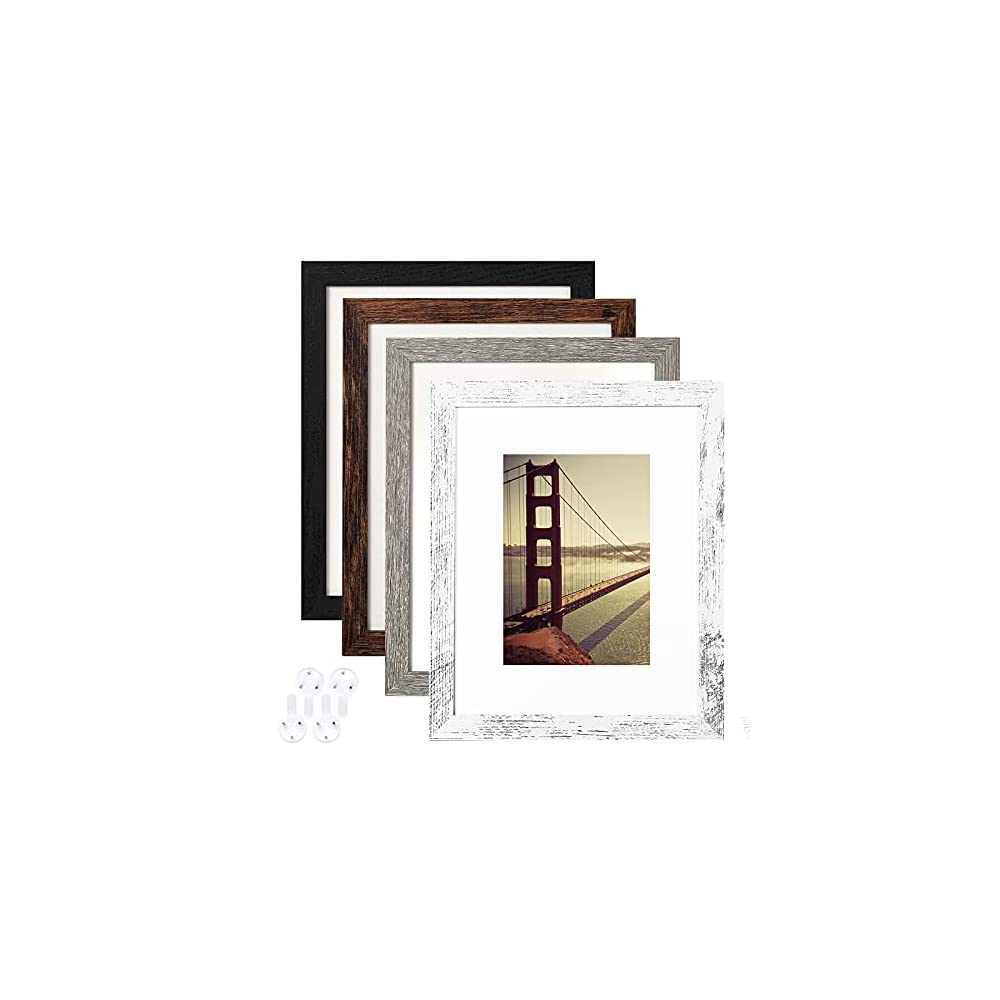8x10 Picture Frame Distressed Farmhouse Wood Pattern Set of 4 with Tempered Glass,Display Pictures 5x7 with Mat or 8x10…