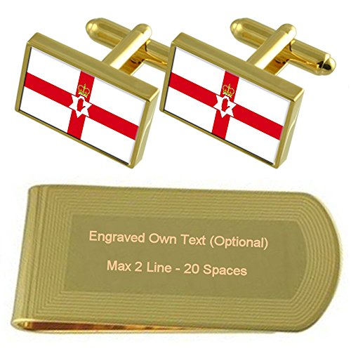 Set Gold tone unofficial Gift Clip Money Northern Flag Ireland Engraved Cufflinks qx1SwvHw