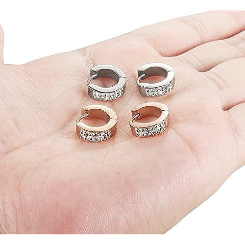 Orazio 18g Stainless Steel Hoop Earrings For Womens Mens Huggie