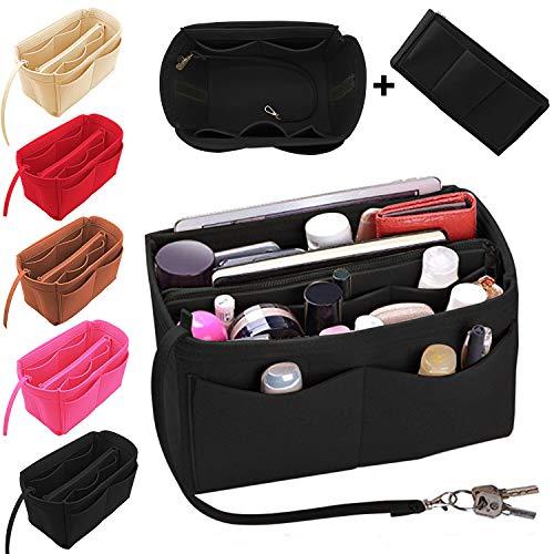 Luxury Purse Organizer Felt Bag Organizer Handbag Tote Bag in Bag with zipper (M, Black) ()