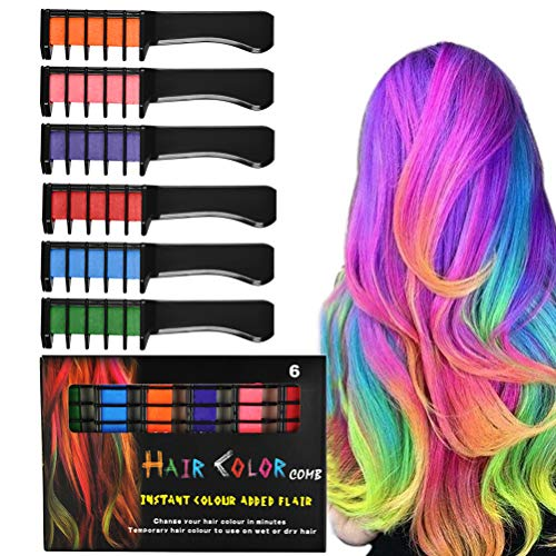 TIMESETL 6 Colorful Temporary Bright Hair Chalk Comb Set Washable Color for Girls Birthday Gift Kids Hair Dyeing Party Christmas Cosplay DIY - Crayon Dog