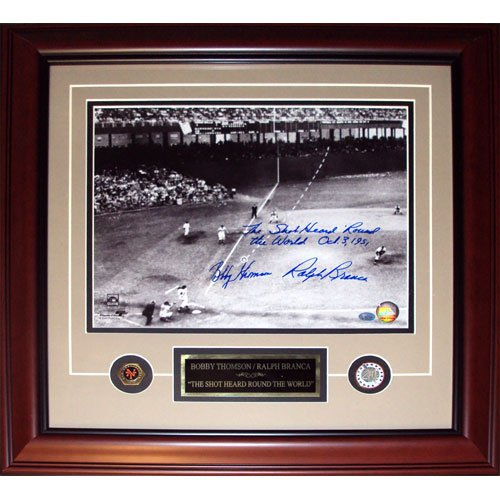 Ralph Branca and Bobby Thomson Dual Autographed Shot (Horizontal Dotted Line) Deluxe Framed 11x14 Photo w/Inscription, Date
