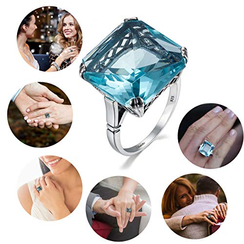 SZJINAO Luxury Brand Victorian Style 925 Sterling Silver Solitaire10ct Big Square Aquamarine Rings for Women 5# -10# (Blue-8) ()