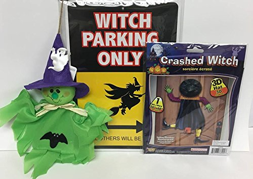Witch Decoration Party Kit Crashed, Witch Parking Sign, Cute Green Witch Decoration]()