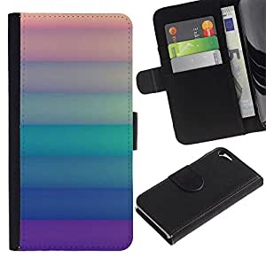 Paccase / Billetera de Cuero Caso del tirón Titular de la tarjeta Carcasa Funda para - pastel lines green purple orange clean - Apple Iphone 5 / 5S