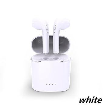 Auriculares Bluetooth, Auriculares Estéreo Inalámbricos para iOS y Android, con Cargador Portátil, Blanco