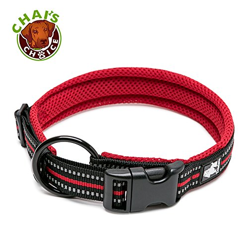 Picture of Chai's Choice Padded Comfort Cushion Dog Collar (Small, Red)