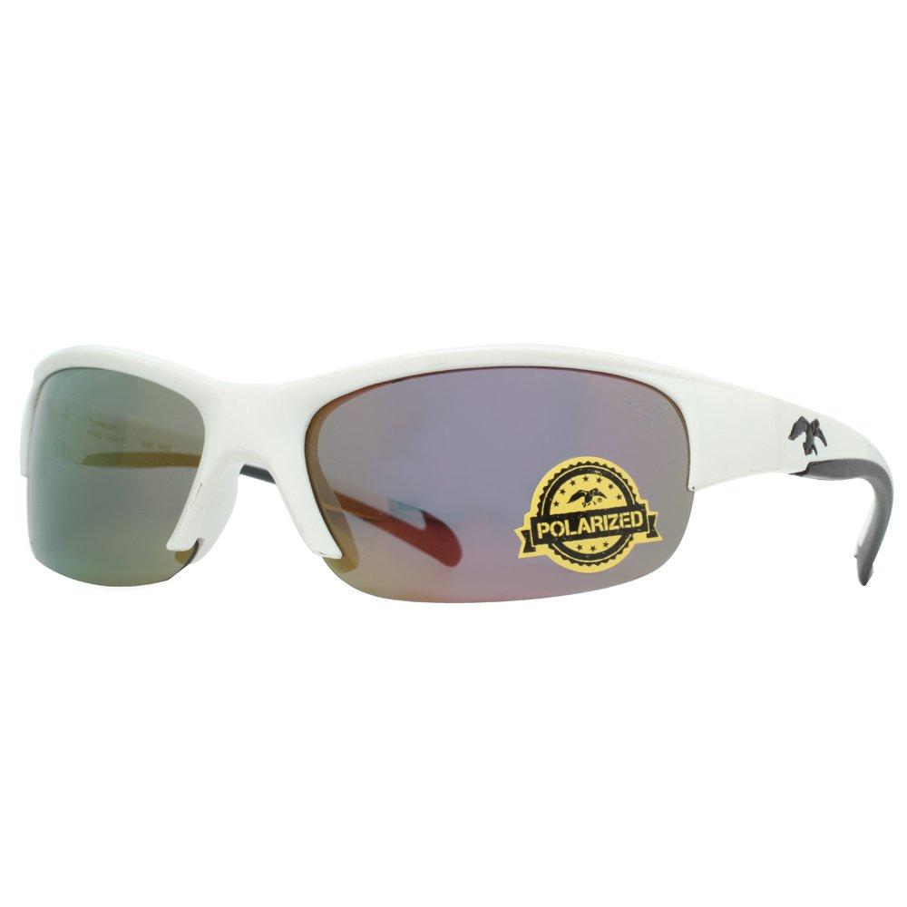 Shiny White DUCK COMMANDER Mens D852 WH2 Mirrored Polarized Sunglasses