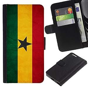 EJOY---La carpeta del tirón la caja de cuero de alta calidad de la PU Caso protector / Apple Iphone 6 PLUS 5.5 / --Nacional bandera de la nación País Ghana