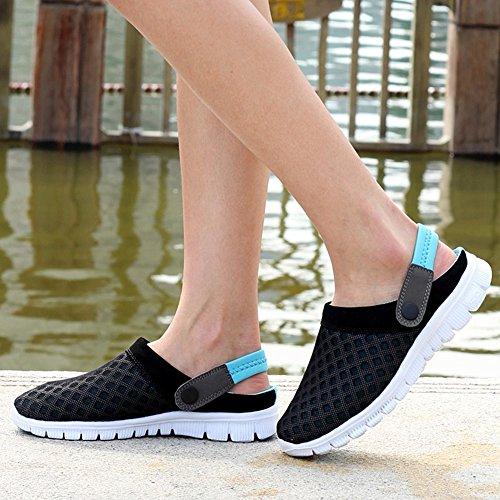 Nasonberg Summer Clog, Unisex Men Women Clog Lightweight Comfortable Sandal Beach Mesh Summer Shoe Black Blue