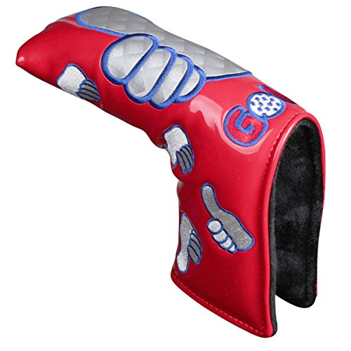 Sword &Shield sports Thumb PU Golf Putter Headcover For Blade Style Golf Club Head Cover with Magnetic Headcovers (Red)