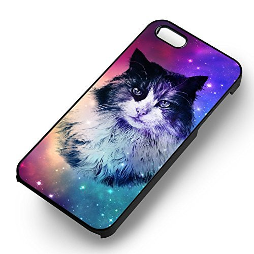 Unique Cat In Galaxy pour Coque Iphone 5 or Coque Iphone 5S or Coque Iphone 5SE Case (Noir Boîtier en plastique dur) J0T5RM