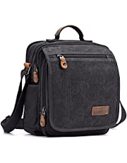 Plambag Canvas Messenger Bag Small Travel School Crossbody Bag Fit iPad Coffee