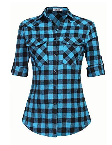 Zeagoo Womens Tartan Plaid Flannel Shirt, Roll up Long Sleeve Checkered Cotton Shirt, Blue, Medium