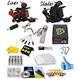 RWANG Professional Great Beginner Tattoo Kit 2 Machine Guns,1 Professional Mini Tattoo Power Supply With Foot Pedal And Clips Cord (PX110016)