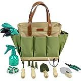 INNO STAGE Garden Tool Organizer Tote Bag with 11 Piece Garden Tools,Best Gardening Gift Set,Vegetable Garden Tool Kit,Gardening Hand Tools Set Bag with Garden Digging Claw Gardening Gloves