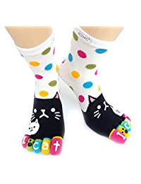 Women winter Long Toe socks Funky white dots black Cat printing cotton sock-white