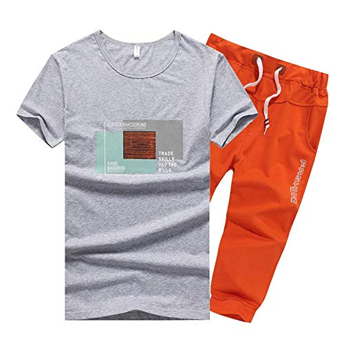 Big Boy's 2 Piece Casual Outdoor Active T-Shirt and Shorts Set Sportswear(Grey-03-XX-Large) for $<!--$53.88-->
